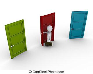 dörr, väljande, tre, en, affärsman, ute