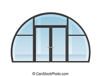 dörr, välvt fönster