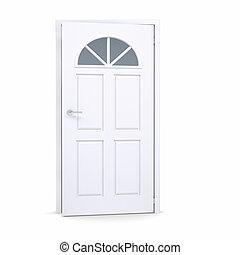 dörr, vit, lätt, öppna