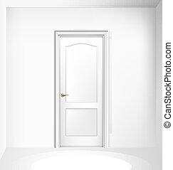 dörr, wall., stängd, vit, vektor, illustration., realistisk, hänrycka