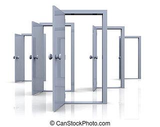 dörrar, öppna, -, possibi