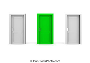 dörrar, -, grå, tre, grön, stängd