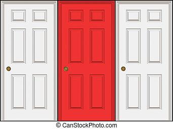 dörrar, tre