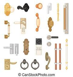 dörrknopp, bakgrund, dörrar, årgång, metall, door-knob, vektor, hänrycka, sätta, retro, vit, illustration, logera hemma, handtag, door-handle, inre, låsa, isolerat, dörr, design