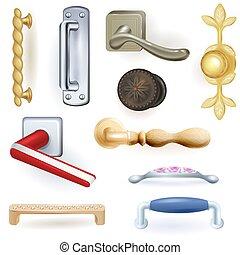 dörrknopp, door-knob, låsa, dörrar, hus, inre, vektor, hem, stil, isolerat, sätta, hänrycka, metall, door-handle, handtag, dörr, säkerhet, bakgrund, illustration, vit, design
