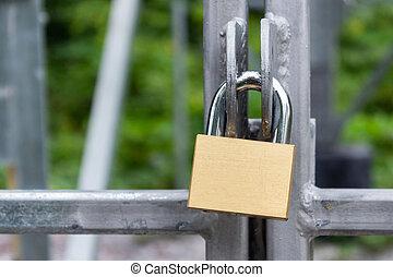 dør, firma, metal, concept), hængelås, (security, bur