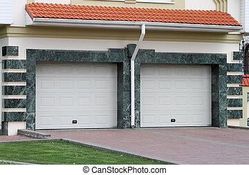 dør garage, by, 2, bilerne