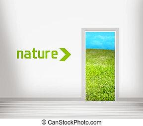 dør, til, natur