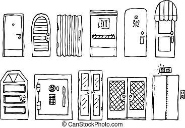døre, og, indgang, sæt