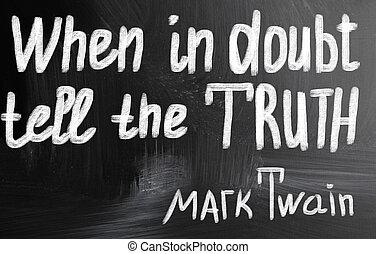 dúvida, conceito, quando, conte, verdade