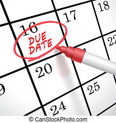 dû, marqué, mots, date, calendrier, cercle