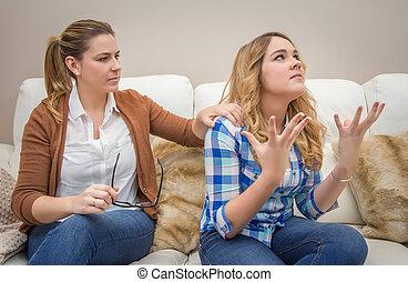 dühös, anya, megvitat, noha, neki, ??teenage, lány