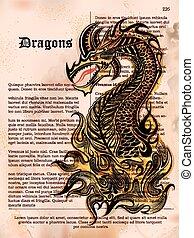 dühös, sárkány, rajz, képben látható, öreg, szüret, könyv, oldal