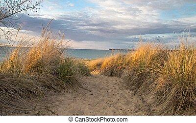 düne, sand, große seen