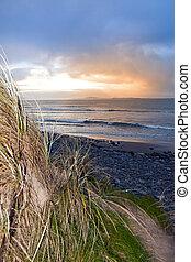 dünenlandschaft, beal, sand, sonnenuntergang, ansicht