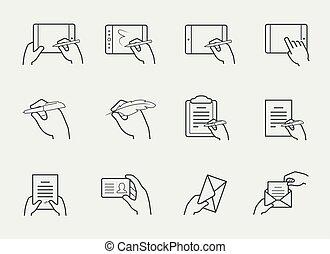 dünne linie, ikone, satz, von, hände, besitz, und, aufeinanderwirken, mit, gegenstände