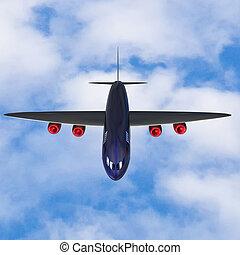 düsenflugzeug, in, a, himmelsgewölbe, nach, der, sonne