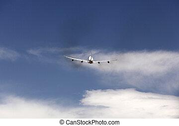 düsenflugzeug, in, a, himmelsgewölbe, nach, der, sunset., quadrat, zusammensetzung, in, hallo