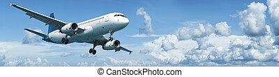 düsenflugzeug, in, flight., panoramisch, composition.