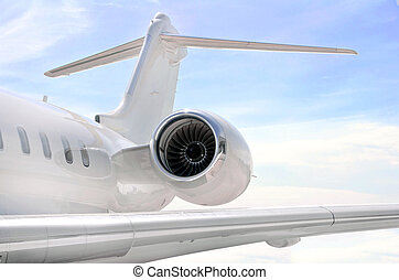 düsentriebwerk, closeup, auf, a, privates flugzeug, -,...