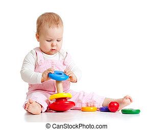 děťátko, barva, hračka, hraní