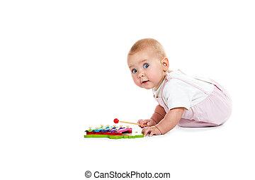 děťátko, hudební, hraní, hračka