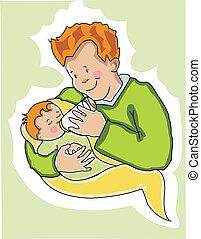 děťátko, krmení, jeho, otec