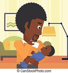 děťátko, krmení, otec, illustration., vektor
