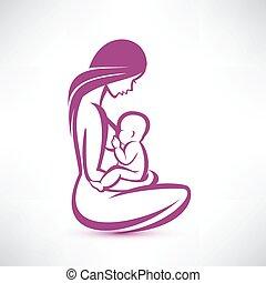 děťátko, krmení, prs, ji, matka
