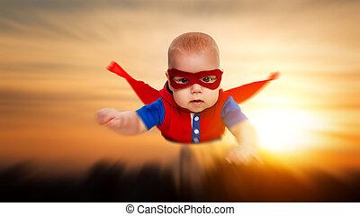 děťátko, superhero, nebe, maličký, let, červeň, batole, ...