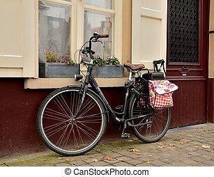 děťátko, vchod, jezdit na kole zaujímat