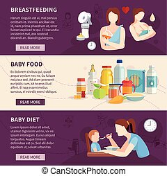 děťátko, vodorovný, krmení, dát, standarta