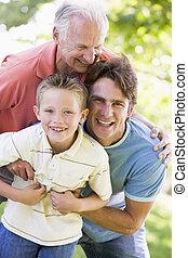 dědeček, sad, dospělý, vnouče, syn