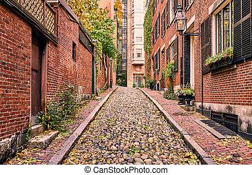 dějinný, alud ulice, v, boston