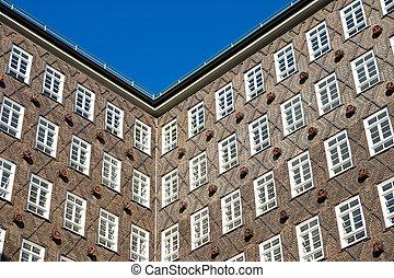 dějinný building, průčelí, do, hamburg