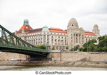 dějinný, koupel, ubytovat se, lázně, architektura, řetězový most, dunaj řeka, budapešť, maďarsko, evropa