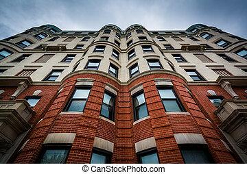 dějinný, luxusní garsoniéra building, do, boston, massachusetts.