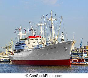 dějinný, nákladní loď, san diego, do, hamburg