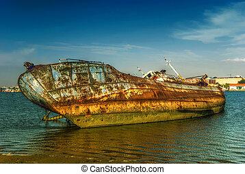 dějinný, nakládat na loď roztříštit se