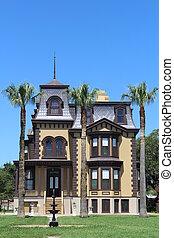 dějinný, sídlo, zátoka, břeh, texas