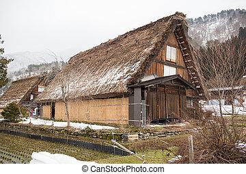 dějinný, vesnice, o, shirakawago, gifu, japonsko