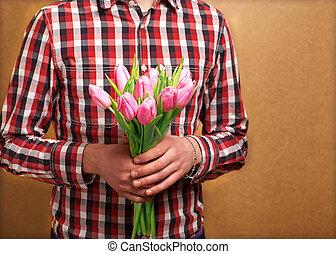 dělat velmi rád pojit, -, voják, s, růže, čekání, jeho, woman., znejmilejší den