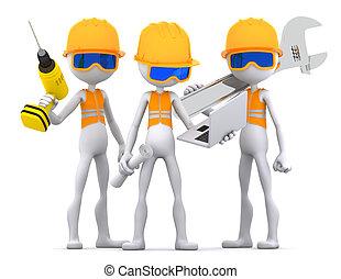 dělníci, průmyslový, dodavatel, mužstvo