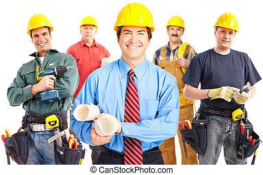 dělníci, průmyslový, group.