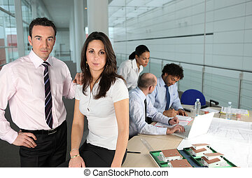 dělníci, setkání, úřad