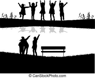 děti, řeka, skupina