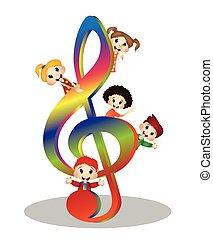 děti, a, klíč, hudba