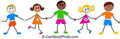 děti, barvitý