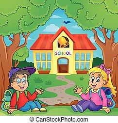 děti, blízký, škola, budova