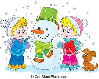 děti, dělání, jeden, sněhulák